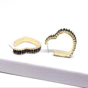 ANTHRO Black Rhinestone Heart Gold Hoop Earrings